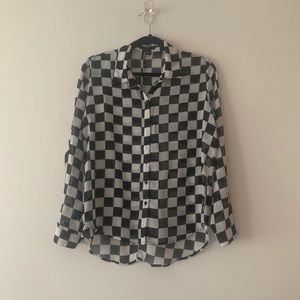 Forever21 Checkered Button Blouse
